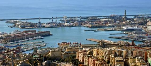 Genua Panorama antiker Hafen